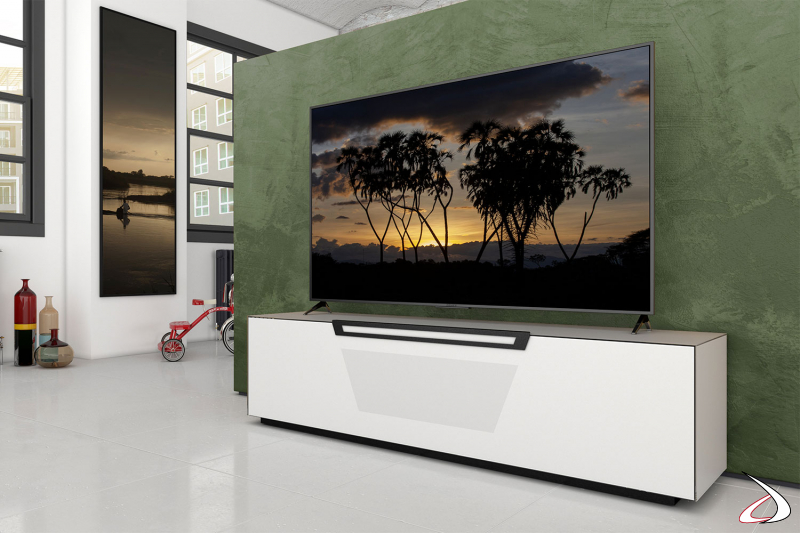 Mobile elegante porta tv bianco opaco con ruote nascoste