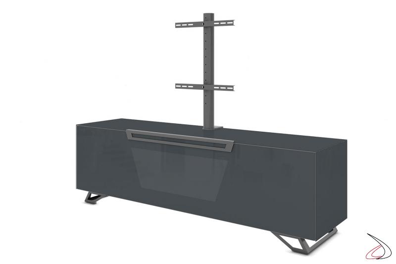 Mobile porta tv con piedini, anta a ribalta e colonna per televisore