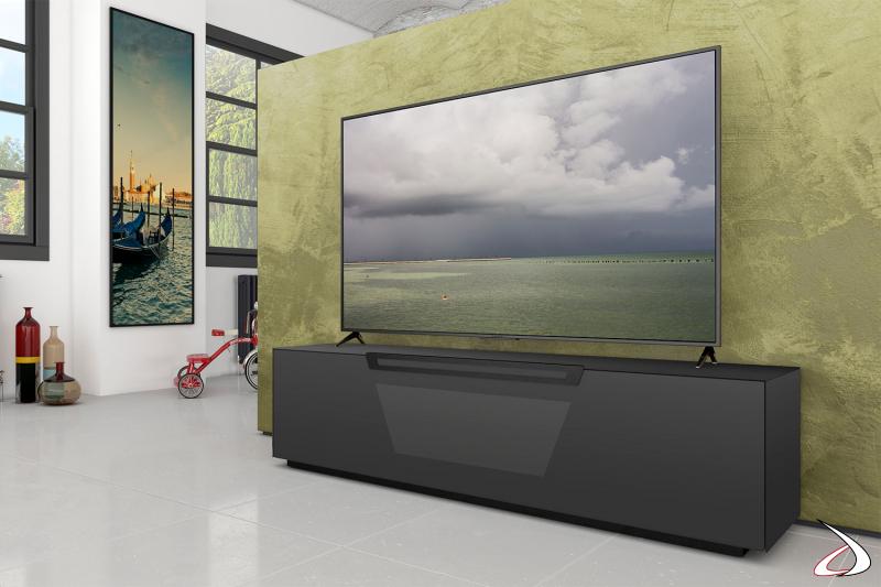 Mobile da soggiorno porta tv con ruote nascoste nero opaco