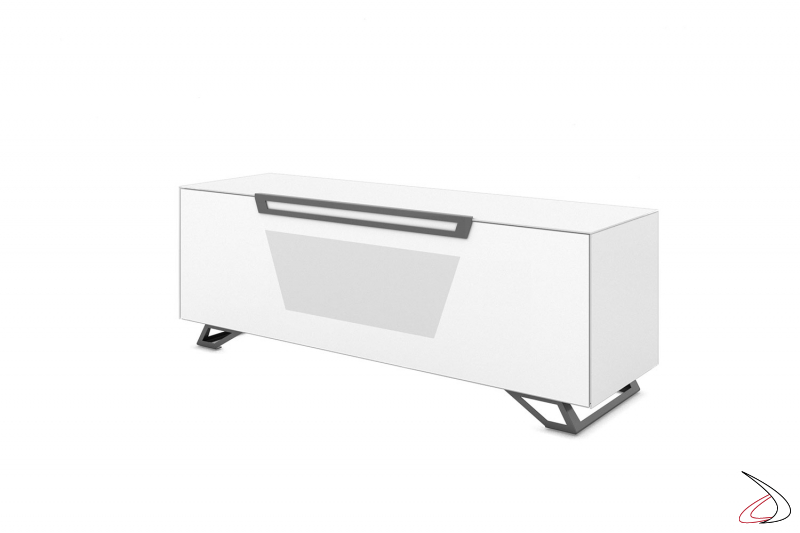 Mobile moderno porta tv 65 pollici bianco opaco con tre ripiani e piedini