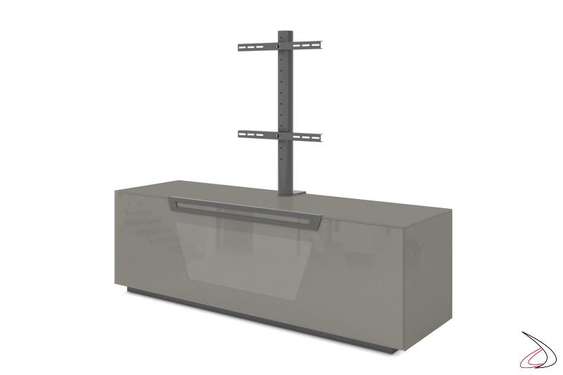 Mobile porta tv grigio lucido con anta, ruote nascoste e opzione struttura per televisore