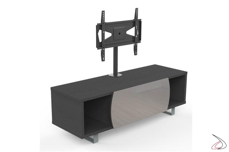 Mobile moderno porta tv in legno scuro con opzione colonna per televisore