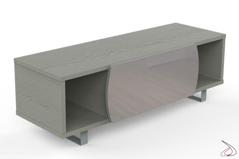 Mobile moderno porta tv in legno chiaro con vani