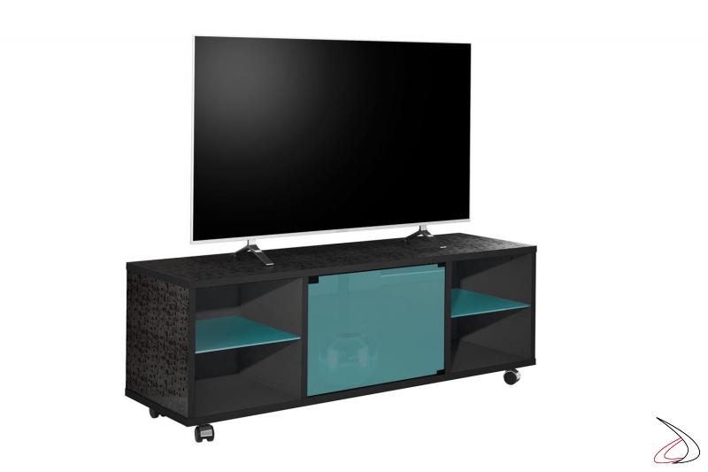 Porta tv moderno con anta push pull e ripiani in vetro