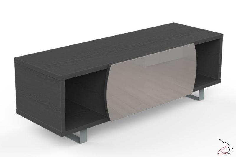 Mobile moderno porta tv 55 pollici in legno con vani e anta a ribalta