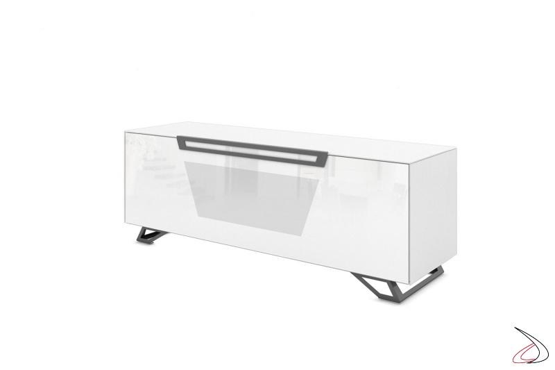 Mobile moderno porta tv bianco lucido con anta a ribalta e piedini