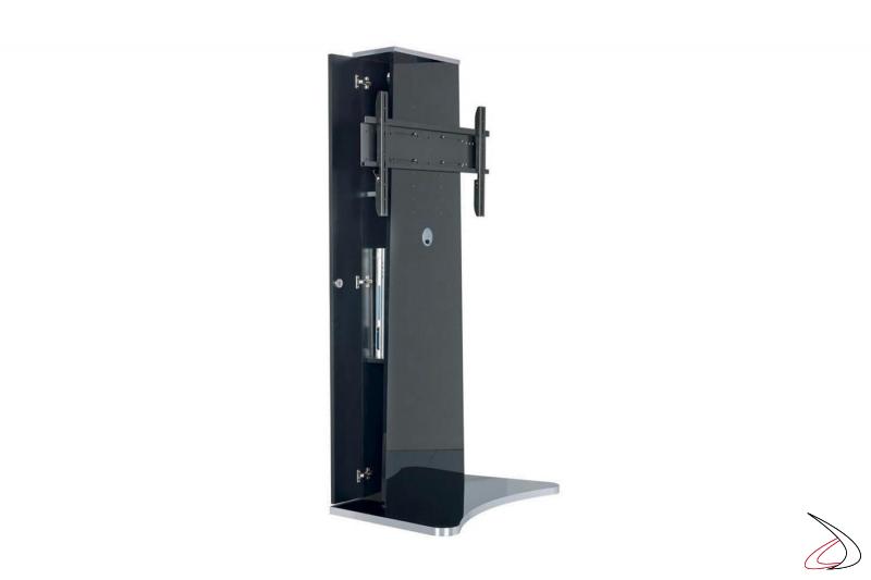 Mobile tv di design a colonna con vano interno contenitore con chiusura a chiave