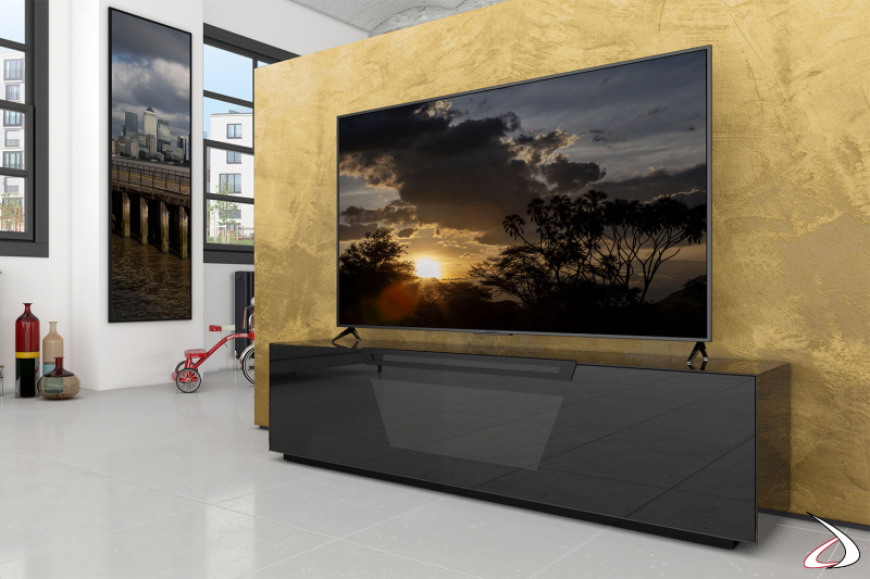 Mobile moderno soggiorno porta TV nero lucido con ruote e anta a ribalta