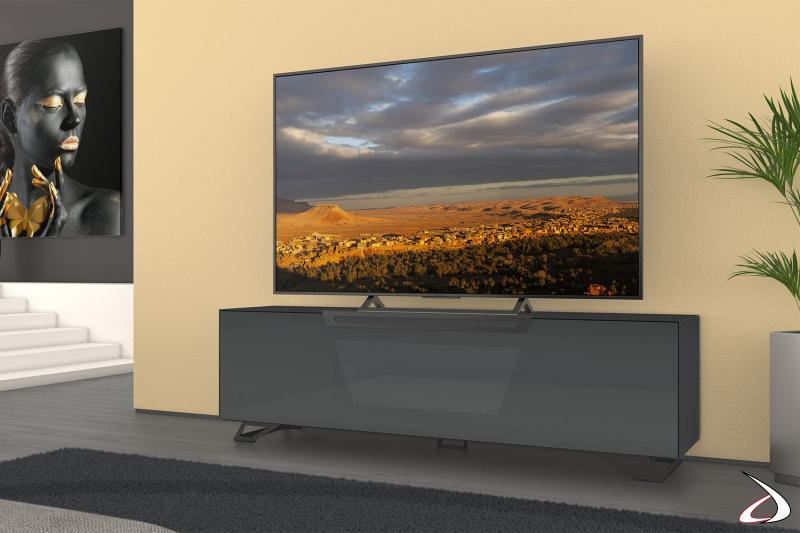 Mobile moderno porta tv 75 pollici grigio scuro lucido con piedini