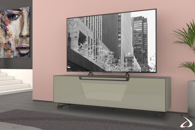Mobile porta tv 75 pollici grigio lucido con anta a ribalta e piedini