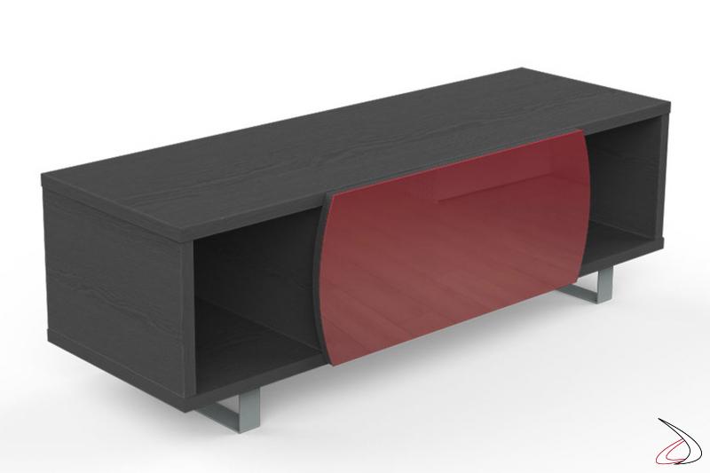 Mobile porta tv elegante in legno con anta in vetro
