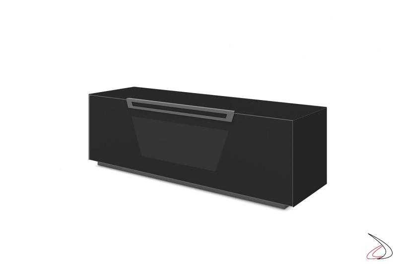 Mobile moderno porta tv nero opaco con anta a ribalta, tre ripiani e ruote nascoste