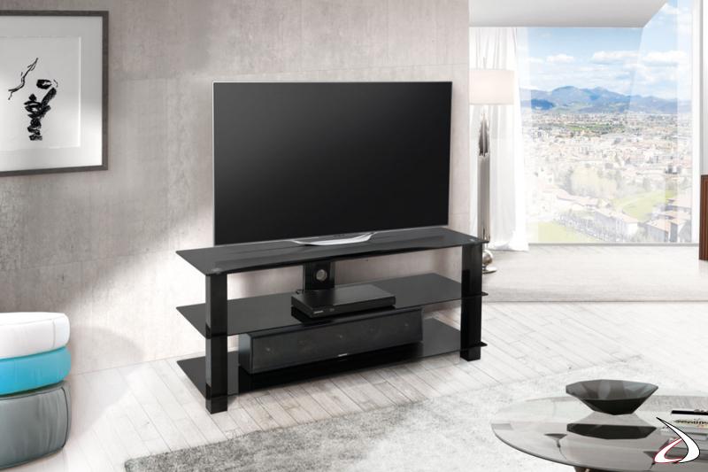 Mobile moderno per TV con ripiani in vetro