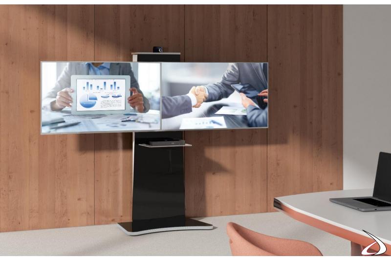 Porta tv moderno a colonna per videoconferenza con ripiano in vetro