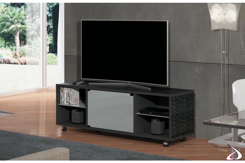 Porta tv di design con anta e ripiani in vetro