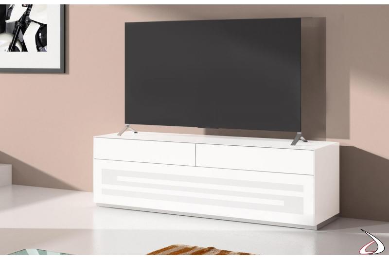 Porta televisore moderno con anta a ribalta e cassetti