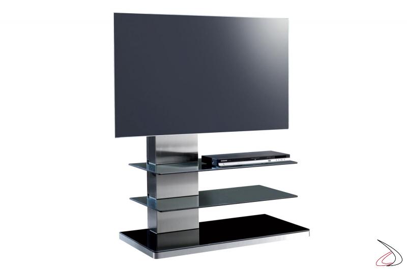 Porta tv di design con colonna in acciaio inox
