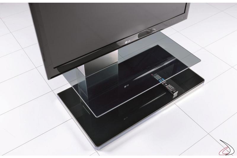 Porta tv moderno con ripiani in vetro fumè