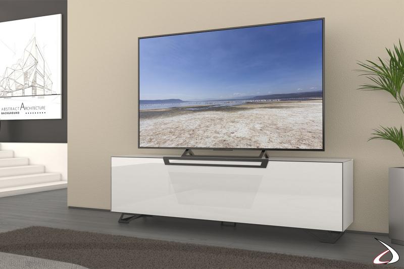 Mobile moderno porta tv bianco lucido con piedini