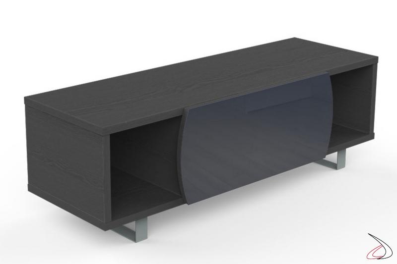 Mobile da salotto moderno porta tv in legno con piedini in metallo