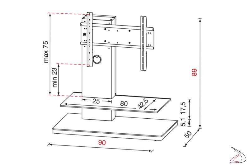 Scheda tecnica porta tv da soggiorno con colonna e ripiano