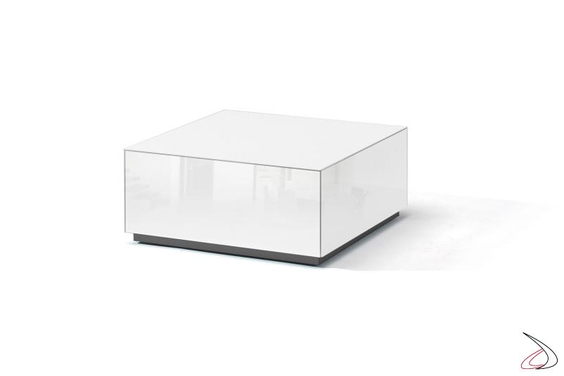 Tavolino salotto moderno in vetro bianco lucido