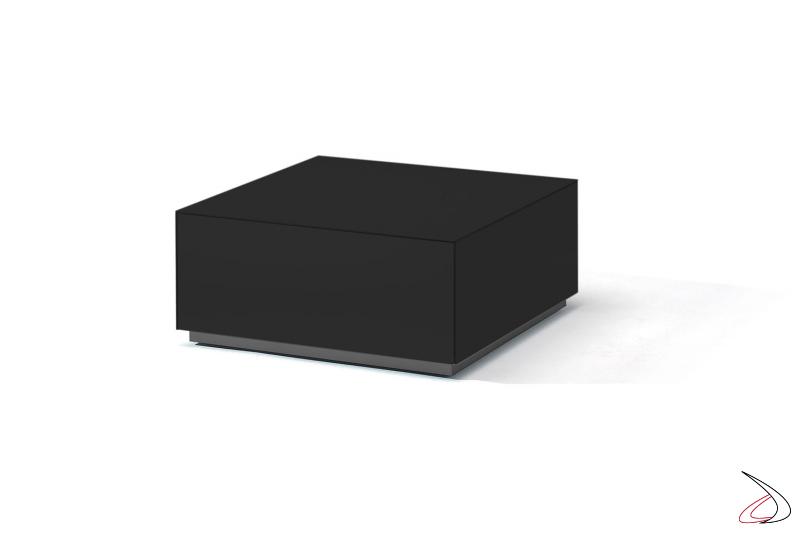 Tavolino elegante in vetro nero opaco con cassetti e ruote