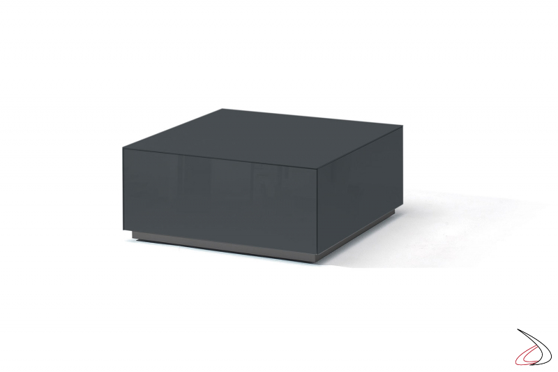 Tavolino moderno in vetro grigio scuro lucido