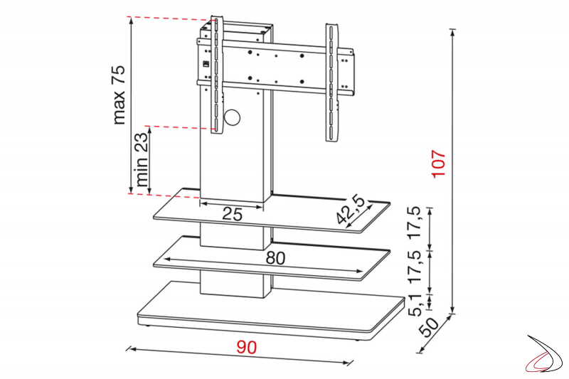 Scheda tecnica colonna porta tv in metallo e due ripiani