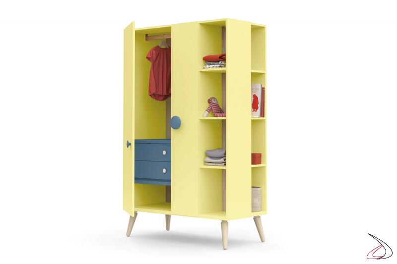 Armadio moderno colorato con cassettiera interna per cameretta bambini
