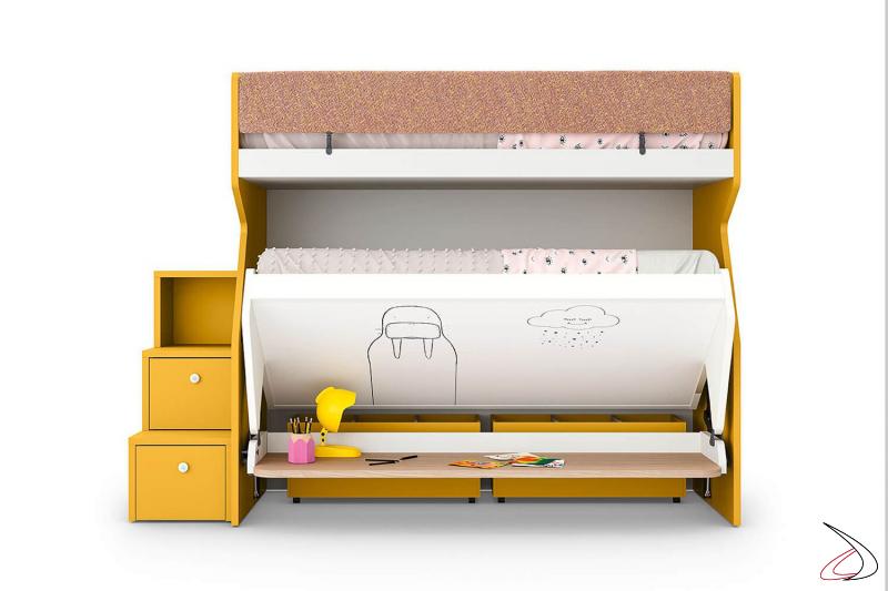Litera para el dormitorio de los niños con segunda cama y escritorio extraíble