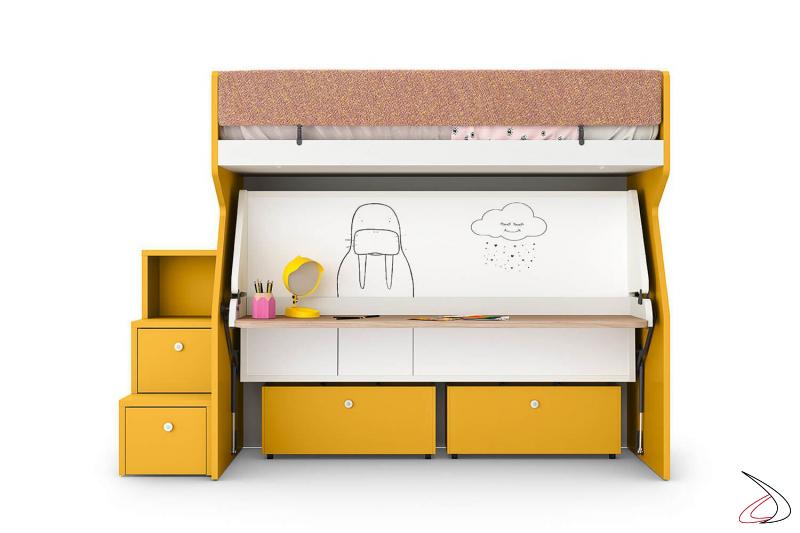 Litera para habitaciones infantiles con escritorio extraíble y cajones con ruedas