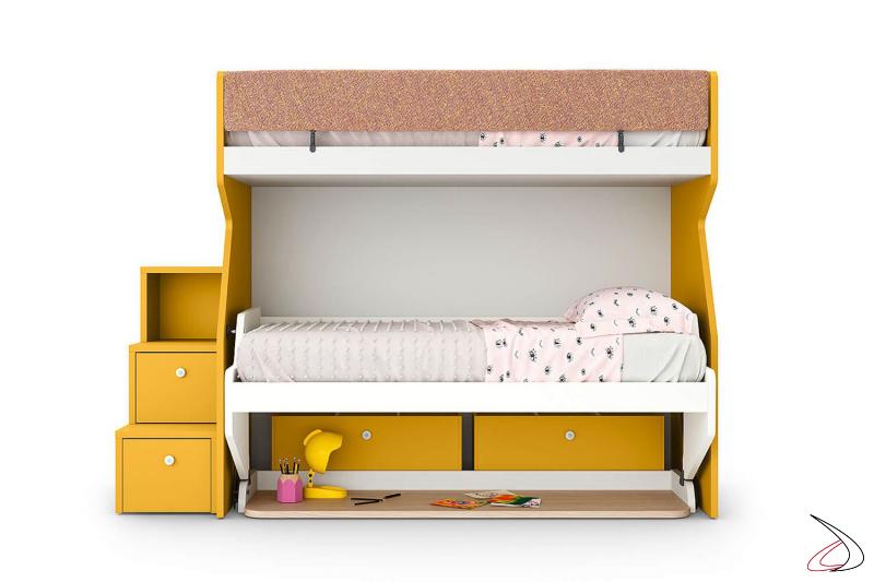 Litera con segunda cama, escritorio, escalera lateral y cajones con ruedas