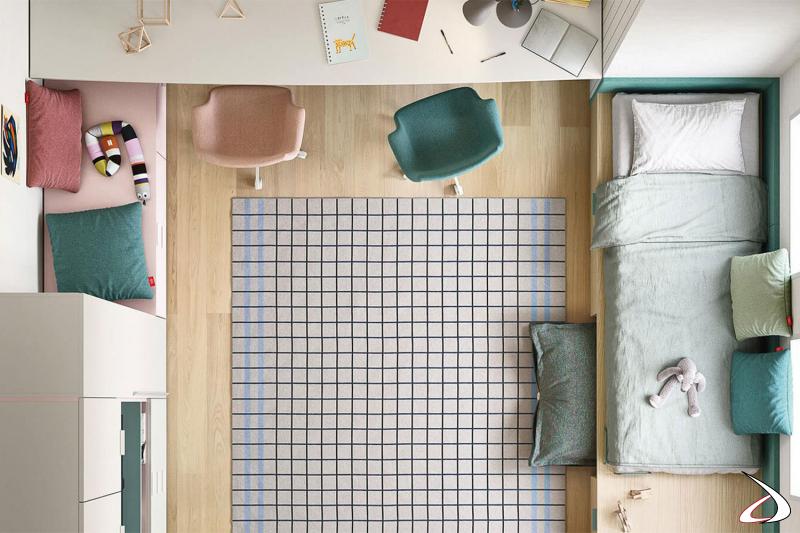 Cameretta con letti contenitori e scrivania sospesa.