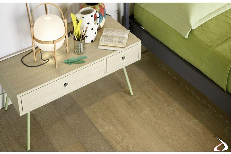 Comodino moderno in legno per camera ragazze