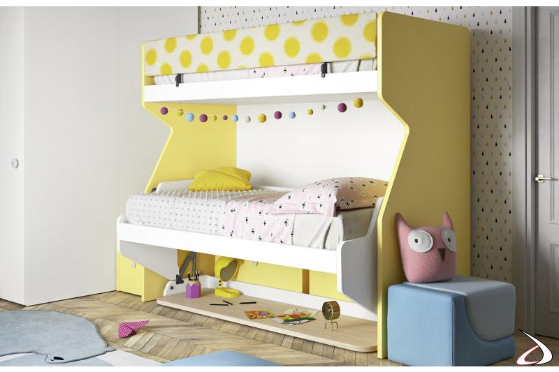 Litera con escalera y escritorio para la habitación de los niños