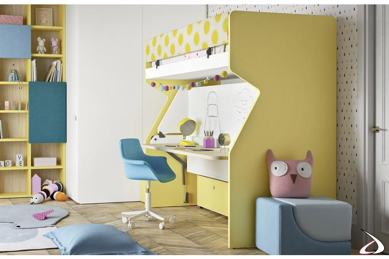 Litera con escritorio y escalera para el dormitorio de los niños