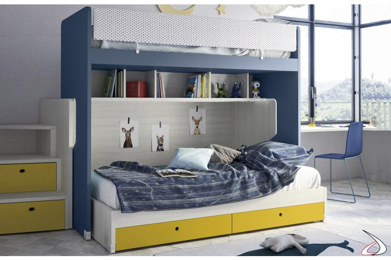 Letto a castello scorrevole con secondo letto inferiore