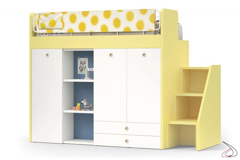 Letto a castello con armadio guardaroba e libreria