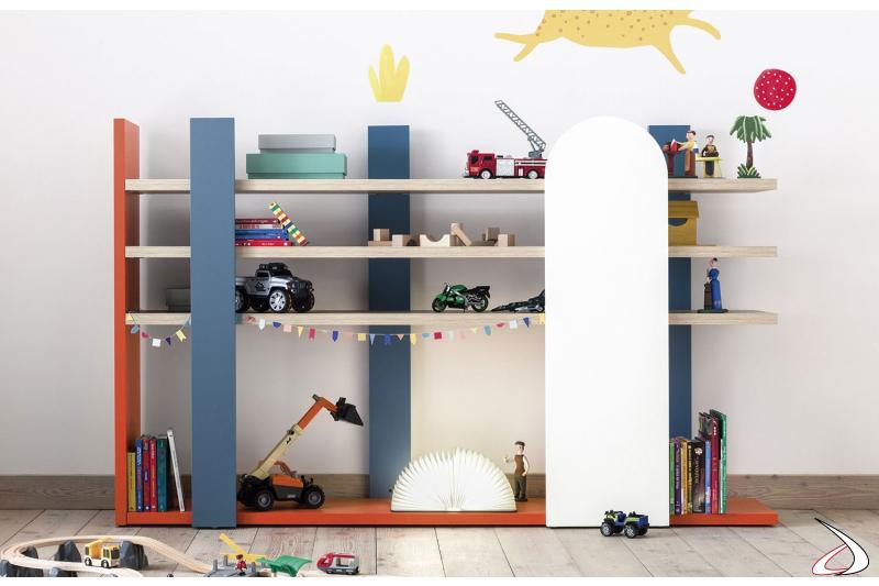 Libreria bassa moderna per cameretta bambini