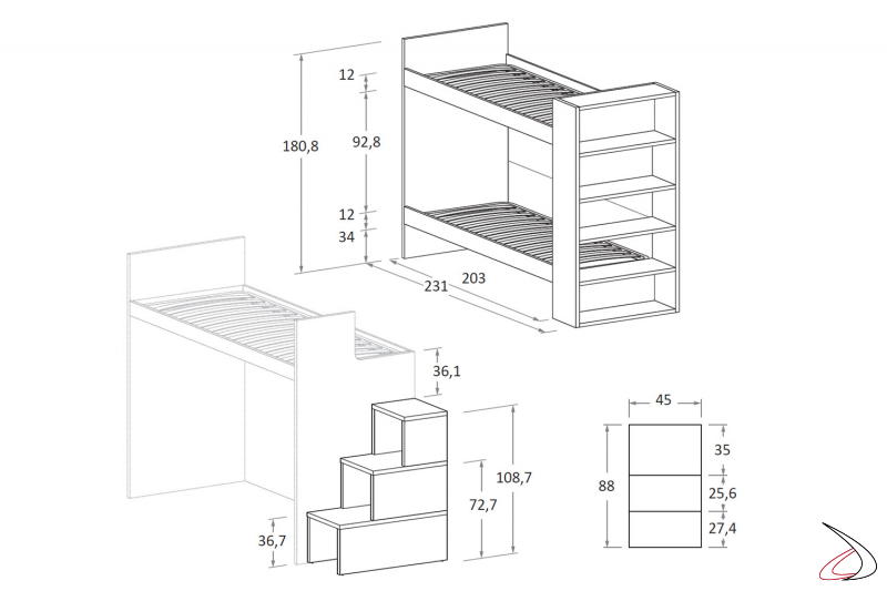 Altezza Letto A Castello.Single Bunk Bed With Nuk Bookcase Toparredi
