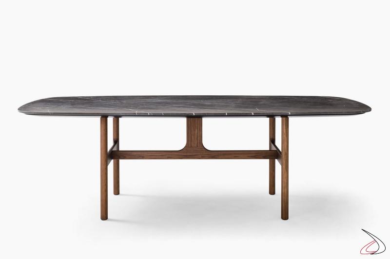 Tavolo fisso a botte di design in marmo con gambe in legno massello