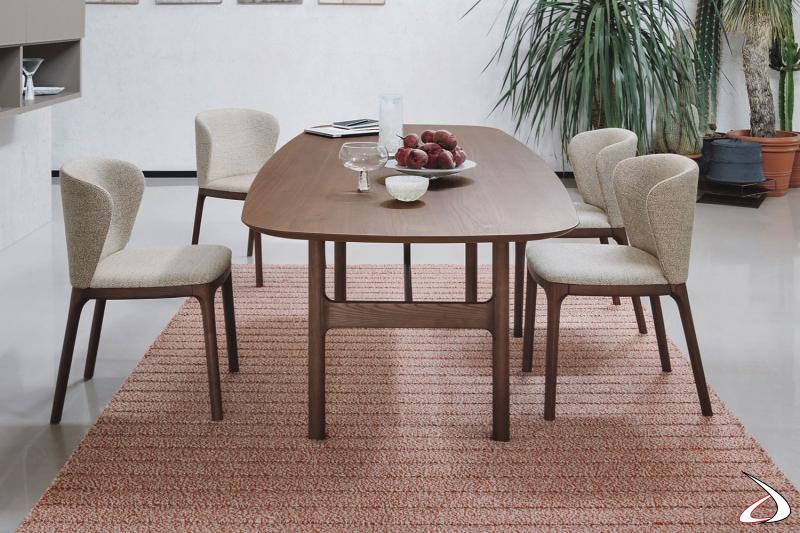 Tavolo da pranzo fisso 6 posti in legno da salotto