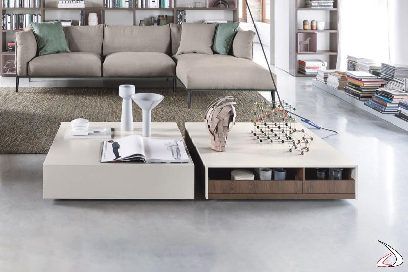 Tavolino quadrato basso di design con vassoio estraibili