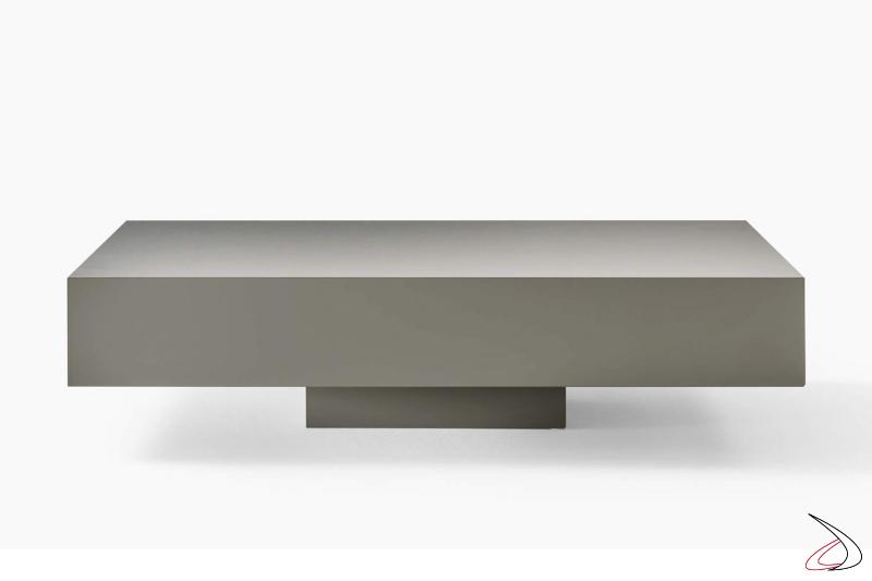 Tavolino basso quadrato da soggiorno con basamento centrale