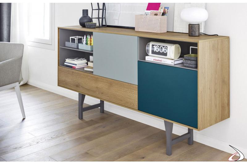 Madia di design colorata con ante e cassetto