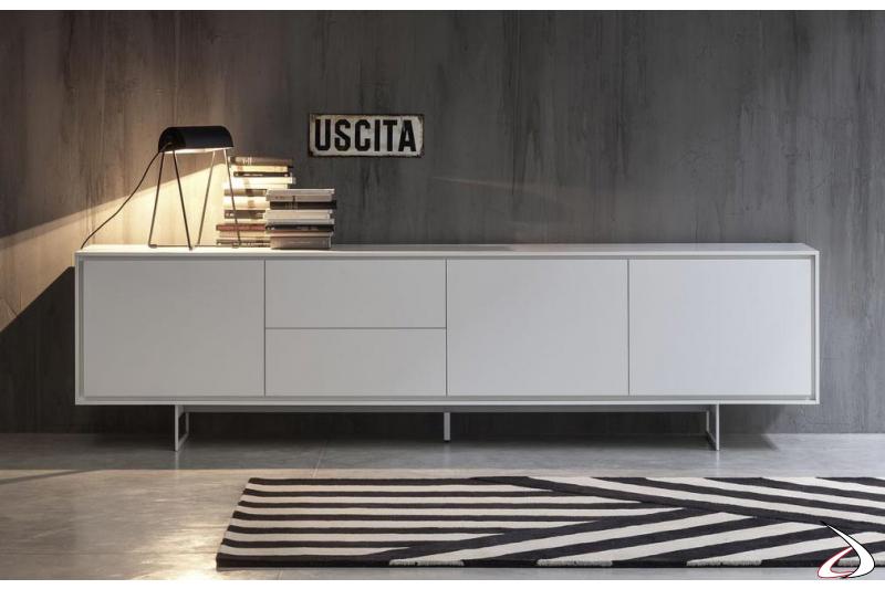 Madia bassa di design da soggiorno con ante e cassetti