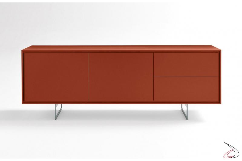 Madia in laccato opaco rosso moderna da soggiorno