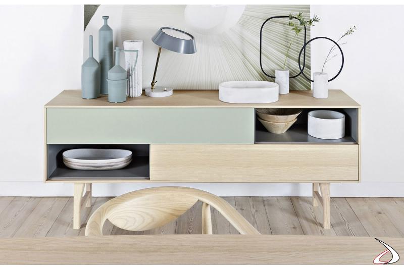 Madia da soggiorno moderna in legno con cassetti e vani a giorno