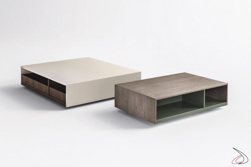 Tavolino da soggiorno rettangolare e quadrato con cassetti